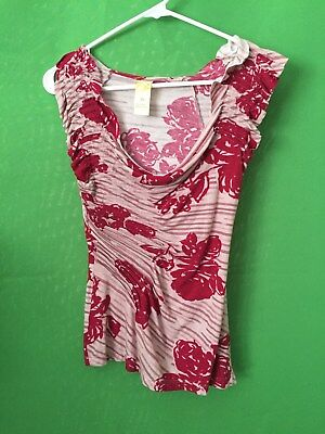 7163)  C KEER ANTHROPOLOGIE sz XS beige red cotton modal knit top ruched
