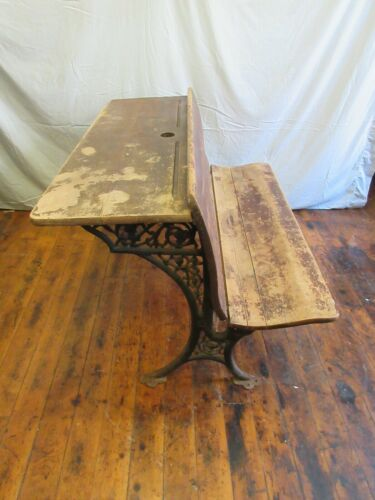 Antique Double School Desk Bench - wood wrought cast iron legs folding furniture