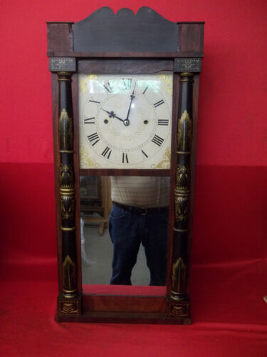 DECENT LOOKING  UNKNOWN GROANER MAKER WOOD WOODEN WORKS WEIGHT  CLOCK  CA 1830