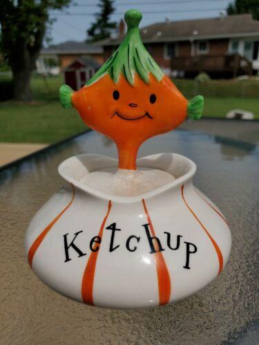 Vintage 1958 HOLT HOWARD Ketchup PIXIEWARE Jar with Spoon