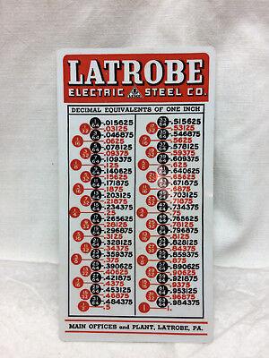 Vintage Latrobe Electric Steel Co Advertising Tables Card Hardness Decimal PA