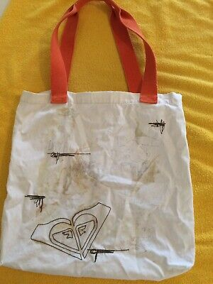 Used, ROXY Old-School Dreamers Tote Bag Purse Shoulder Shopper Natural With Orange for sale  Howey in the Hills