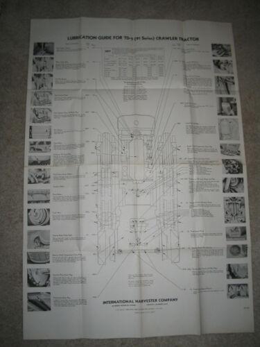 INTERNATIONAL TD-9 CRAWLER TRACTOR/DOZER LUBRICATION CHART NOS RARE