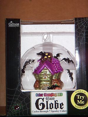 Gerson HALLOWEEN LED Glass Globe Color Changing Cycles 7 Colors GHOST HOUSE ---