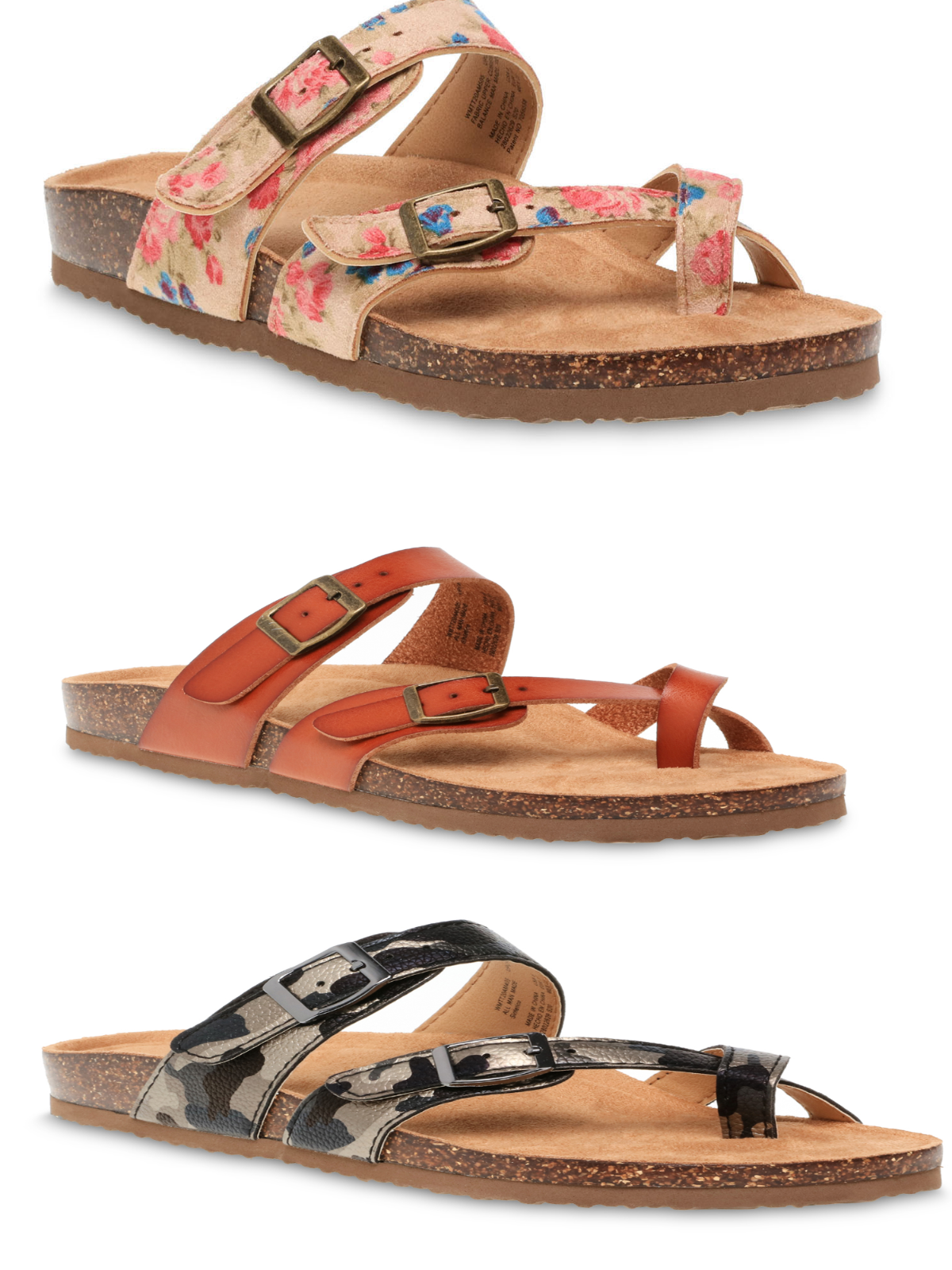 NEW TIME & TRU CORK SOLE MOLDED FOOTBED TOE LOOP/STRAP THONG SLIDE SANDAL Clothing, Shoes & Accessories