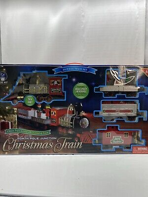 North Pole Junction Christmas Train Set Blue Hat Toy 20' Track Lights Sounds New