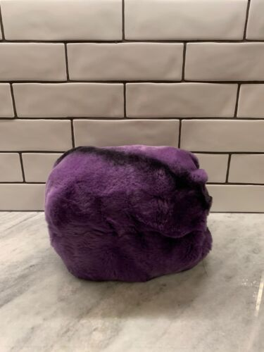 Genuine Chinchilla Fur Muff (Purple)