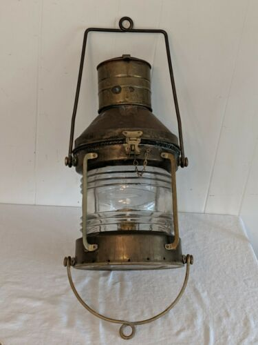 Vintage Antique Nautical SHERWOODS Brass Ship Lantern Light LARGE Oil Beauty!