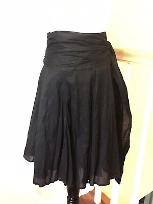 Lux Lux Lux Black Cotton Drop Waist Skirt With Sash And Pleats S 7