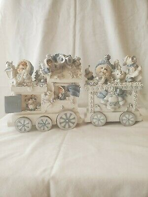 Large Ceramic Christmas Train Decoration, White and Blue, 2 piece set.