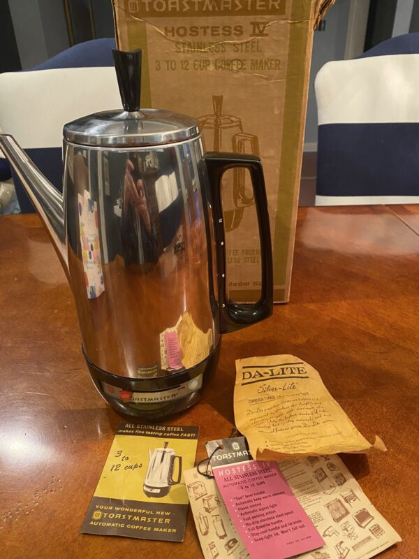 Vintage Toastmaster Chrome Percolator  Model 521-1 with Box