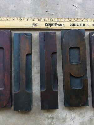 Six Rare Giant Twelve Inch Tall Vintage Letterpress Wood Type Sorts