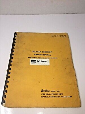 Belshaw Equipment Donut Robot Machine Variety Cutter Owners Manual Dr42