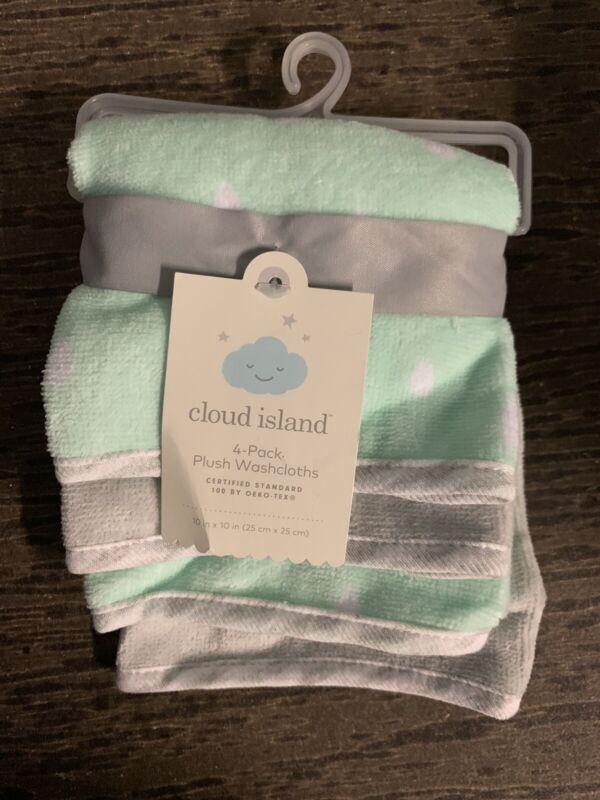 Cloud Island Baby Girl-Boy Washcloths 4-Pack Mint Green Grey White Plush