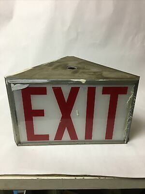 Vintage Exit Lighted Sign White Glass Red Letters Panel Triangle Shaped 3-sided