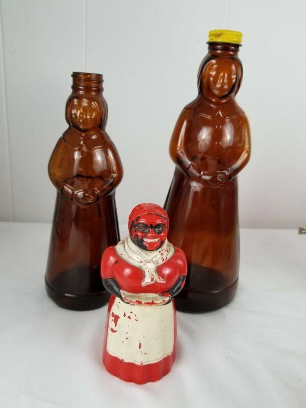 """2 Mrs Buttersworth Glass Syrup Bottle 10"""" & 8"""" - Plastic Aunt Salt Shaker"""