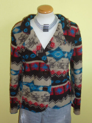 Wolljacke Romeo & Giulia bunt Jacke Größe XL Aztekenmuster neuwertig