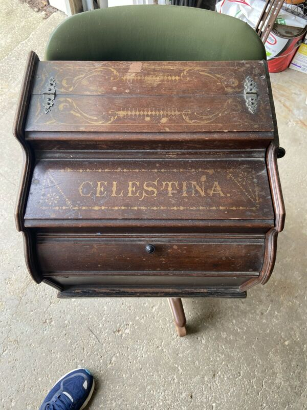 Antique Mechanical Orguinette Celestina NY Hand Crank Music Roll Player Works