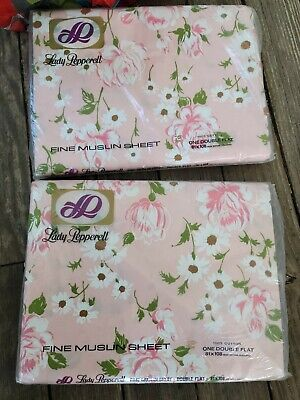 2 Vintage Lady Pepperell 100% Cotton fine muslin Sheets One double  Flat floral