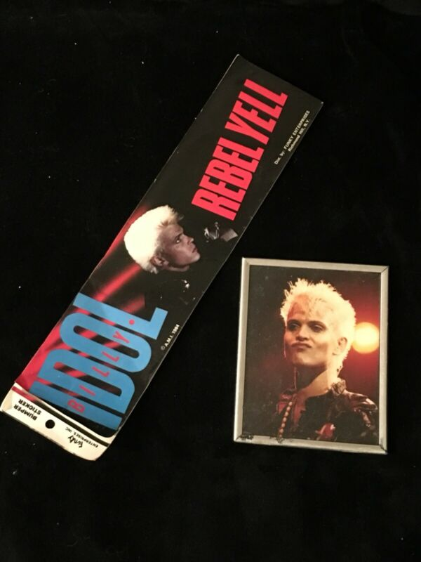 VINTAGE BILLY IDOL REBEL YELL Bumper Sticker Decal And Photo Lot-Early 1980s