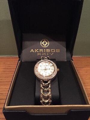 New in Box Akribos XXIV AK804 Diamond Accented Bezel Dial Women's Watch