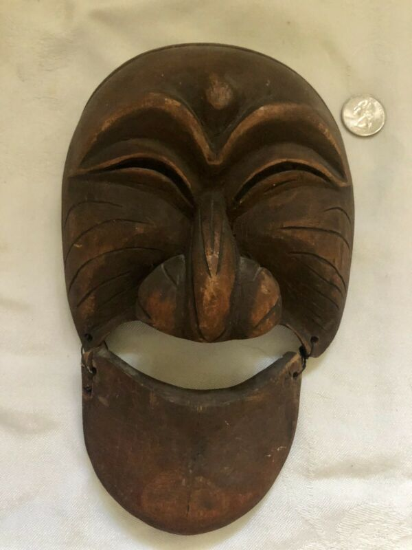 Hand Carved Antique Korean Hahoe Mask Theatre Mask Signed