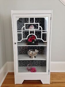 White painted antique China cabinet