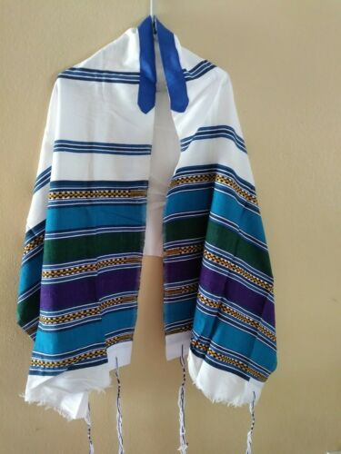 Africa hand- woven tallit, cotton small multi color