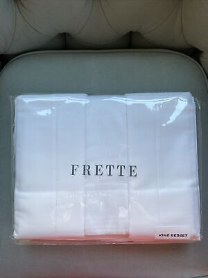 FRETTE MONZA KING 4 PIECE SHEET SET SATEEN WHITE NEW WITH TAGS