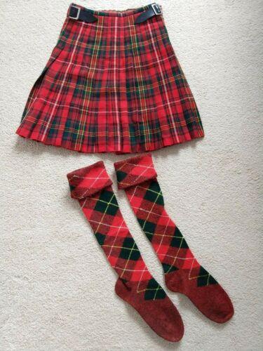 2 Pc Highland Dance Competition Womens Small Medium Red Green Tartan Kilt Socks