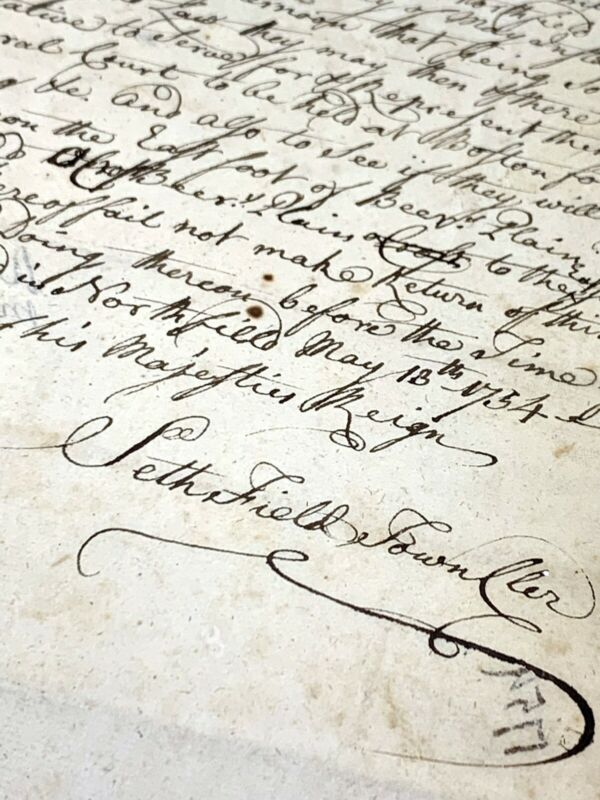 1754 Colonial Warrant Seth Field, Aaron Burt, Northfield, Beers Plain, Deerfield
