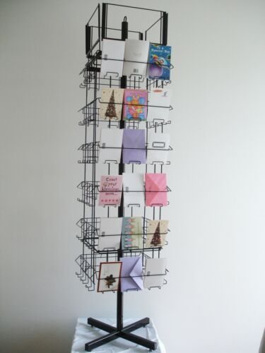 Spinning greeting card rack that will hold standard 4x6 or 3x5 greeting cards