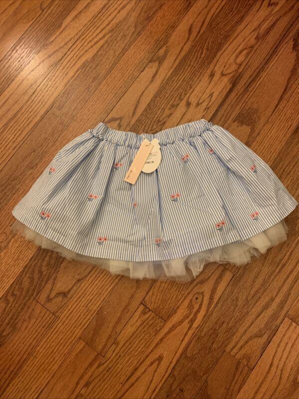 NWT Doe A Dear Daisy Seersucker Skirt - Sz 4 - Light Blue/white/pink   Cute