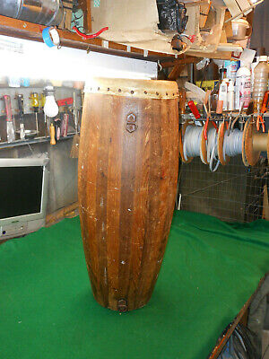 """Vintage African Native Tribal Bongo/Conga Drum  Zebra Hide Covered  15"""" Handmade for sale  Shipping to Nigeria"""