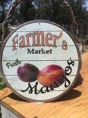 Farmers Market Fresh Mangos Round Sign Vintage Garage Bar Decor Old -
