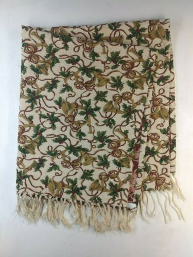 """Vintage Heavy Tapestry Embroidery Holiday Tablecloth with Tassels 54.5""""L x 47""""W"""
