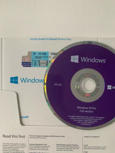 Windows 10 Pro Professional 64 Bit Dvd W/ Product key