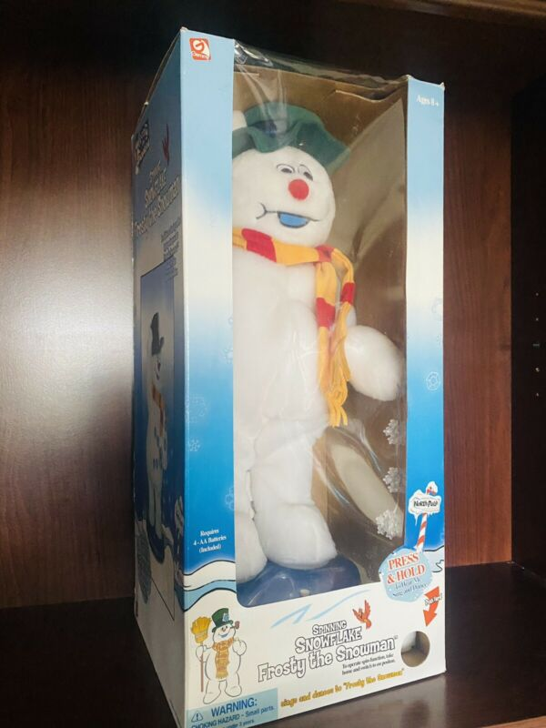 Gemmy Animated Spinning Snowflake Frosty The Snowman Rare With Box