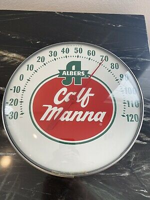 """Vintage ALBERS Calf Manna Glass Face Thermometer 12"""" White Red BEAUTIFUL"""