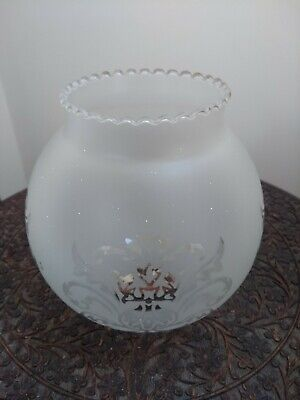 Acid etched globe shaped glass oil lamp shade