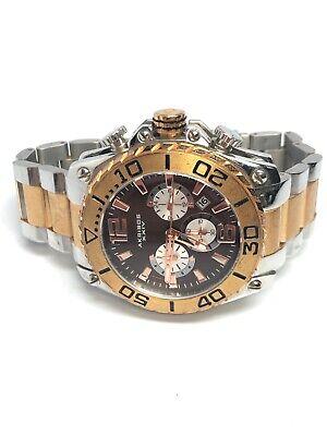 Akribos Mens Stainless Steel Two Tone Quartz Chronograph Watch