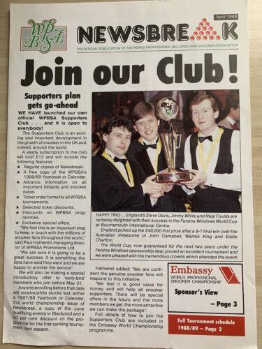 Snooker WPBSA newsbreak magazines - Collection from 1988 - 1990