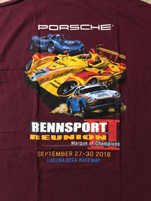 Porsche Rennsport Reunion VI Shirt Tshirt Mens 2XL XXL Maroon Red