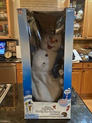 SPINNING SNOWFLAKE FROSTY THE SNOWMAN GEMMY 2002 RARE BLUE VEST VERSION IN BOX