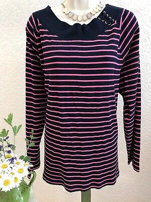 LRL RALPH LAUREN Women's Sweater Plus 3X Knit NEW! Career Casual Navy Pink #ls