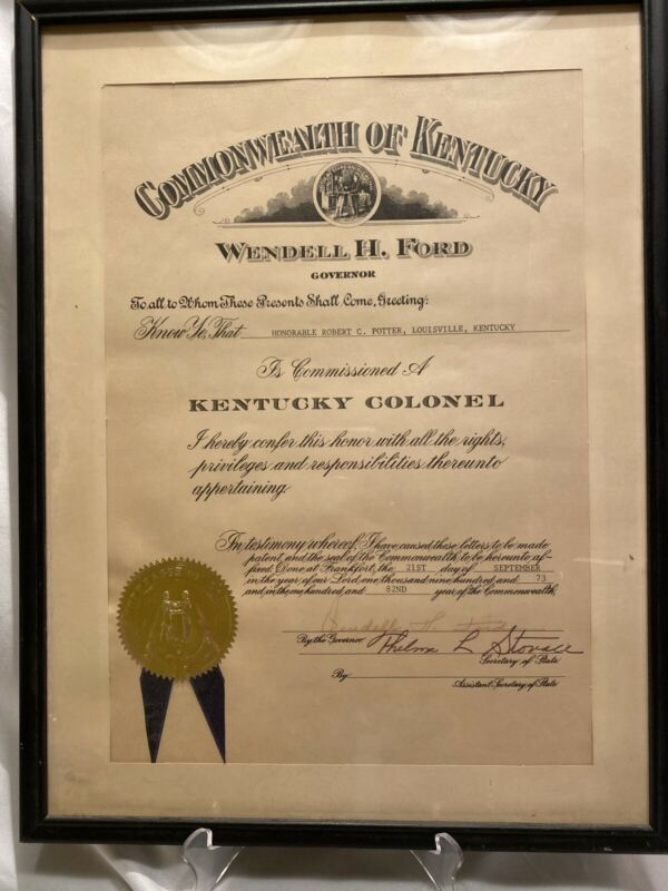 Vintage Kentucky Colonel Governor Wendell H. Ford Signed Certificate 1973