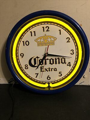 "CORONA EXTRA BEER BLUE WITH YELLOW NEON ADVERTISING CLOCK SIGN 12"" NEON WORKS"