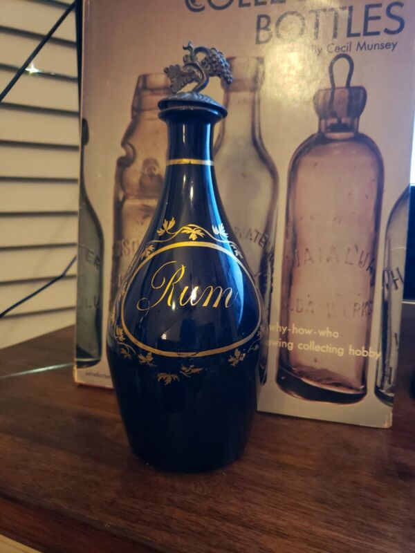 "BRISTOL COBALT BLUE RUM DECANTER BOTTLE 7"" EARLY 19TH CENTURY???"