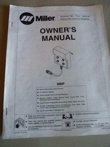 1994 Miller Electric Manual MMP MIG Pulsing Control Pendant for KE686958 OM-814A