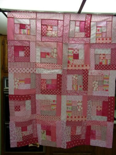 """Scrappy Pink #2 Log Cabin Quilt Top 35"""" x 43"""""""